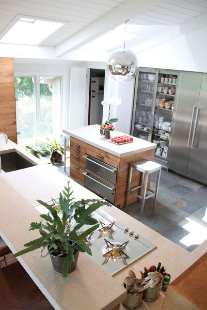 #kitchen #brick #slate #stainless