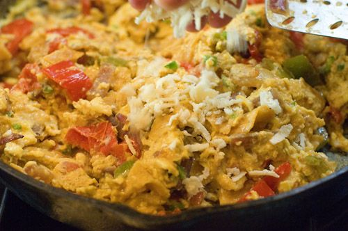 Migas - Scrambled Eggs with Tomatoes, Peppers, and Tortillas