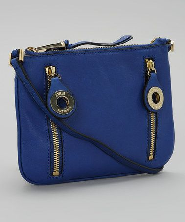 Take a look at this Royal Blue  Gold Leather Crossbody Bag by Joelle ...