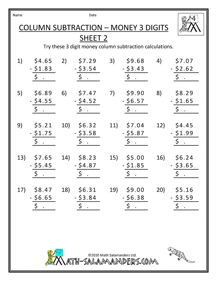 Subtracting Money Worksheet How Much Change Toys Subtraction – Math Printable Worksheets for 5th Grade