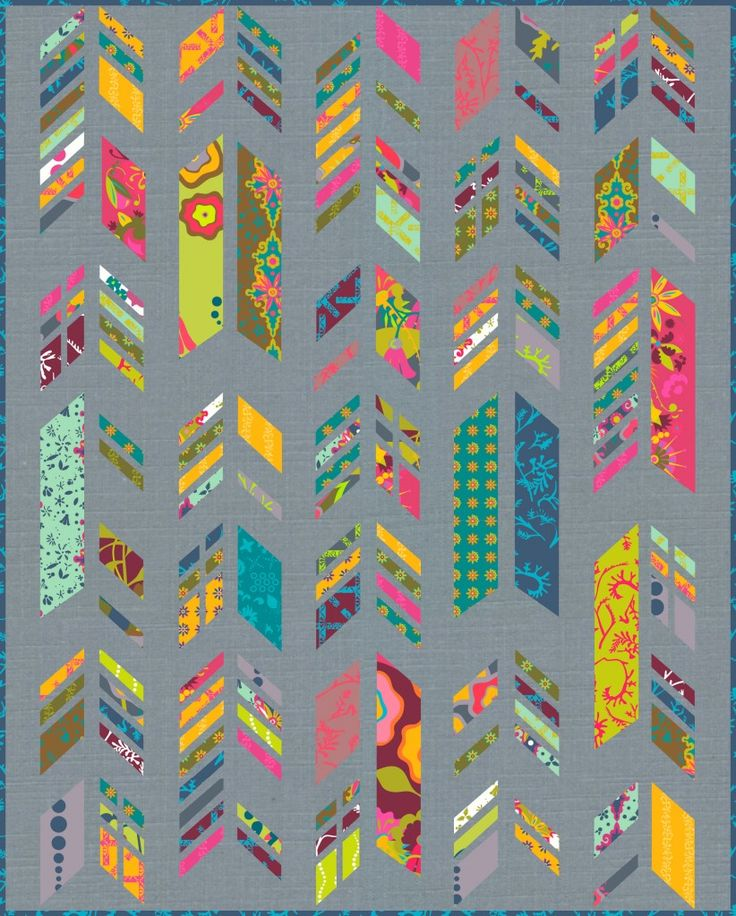 Feather Quilt Mock-up - I really like this grey mixed with these bright colors!