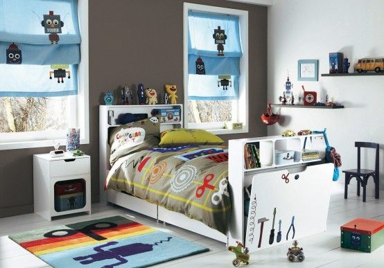 Cute little robot themed room for a little boy a place for Robot room decor