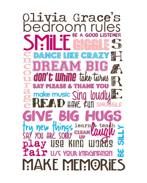 Bedroom rules decorating ideas baby 39 s room pinterest for Room design rules