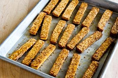 Baked Sesame Tofu Sticks with Peanut Butter, Tahini, and Ginger Sauce ...