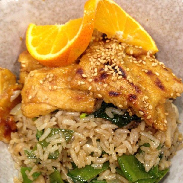 """Orange """"chicken"""" w garden veggie fried rice. #vegetarian"""