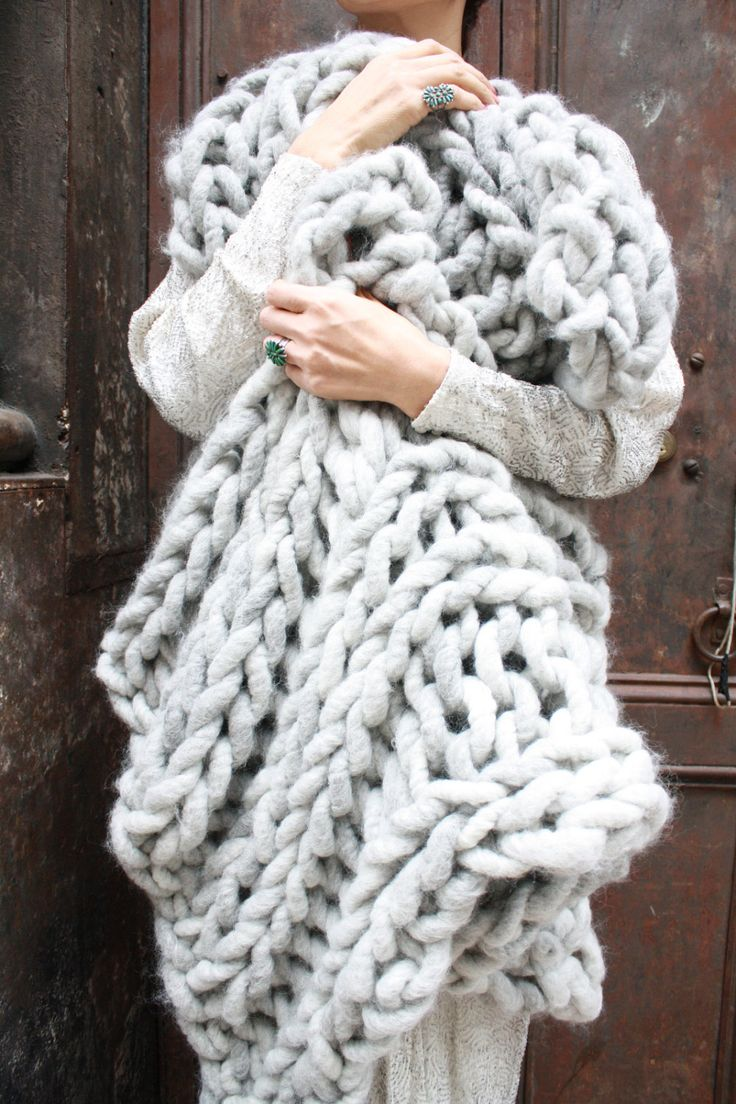 Diy knit kit big loop merino chunky knit blanket or rug for How to make a big chunky knit blanket
