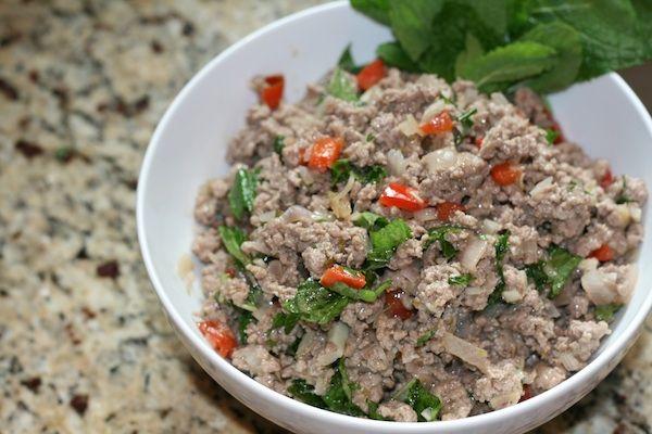 ... larb thai chicken larb scrambled egg wrap pork larb lettuce wrap