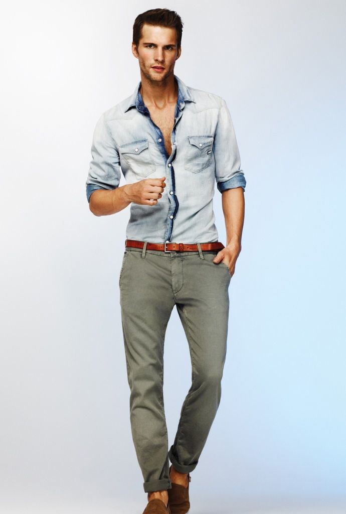 #Weekend outfit idea, guys, #denim shirt is a must - have!