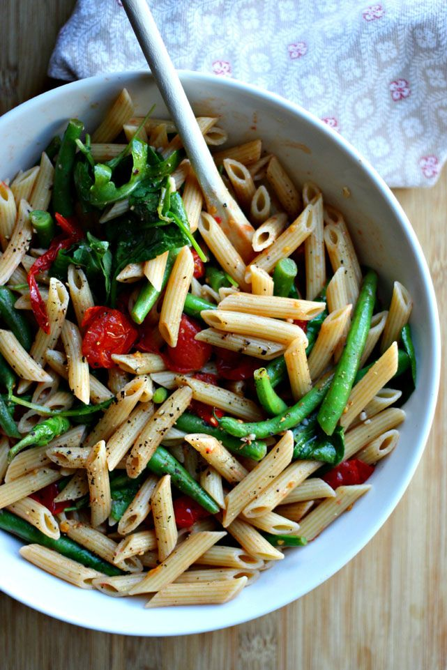 beauty amp truth pasta with green beans tomatoes amp wilted greens
