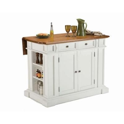 Traditions Distressed Oak Drop Leaf Kitchen Island in White