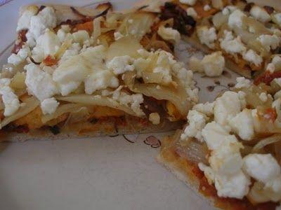 sweet potato, caramelized onion and feta pizza