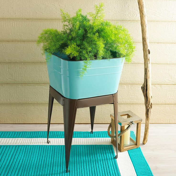 Wash Tub With Stand : Aqua Enamel Metal wash tub with stand