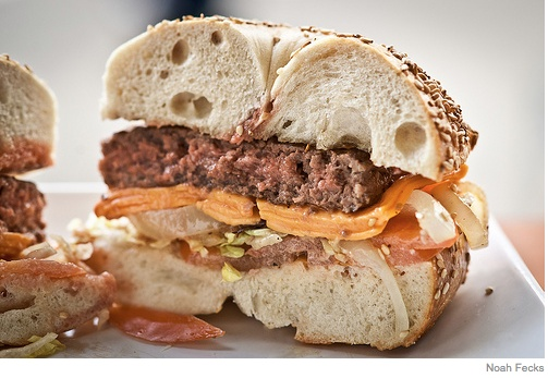 shouldn't be daydreaming about bagel burgers, but i can't help it ...