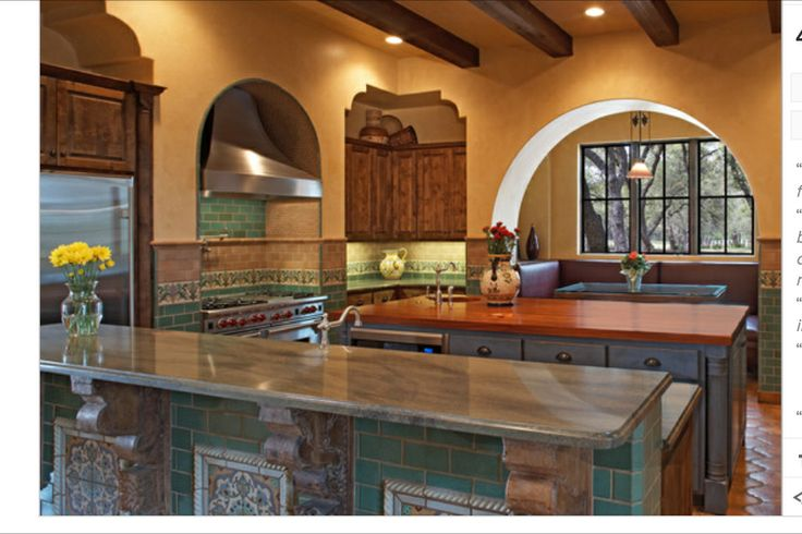 Teal and brown kitchen  new house ideas  Pinterest