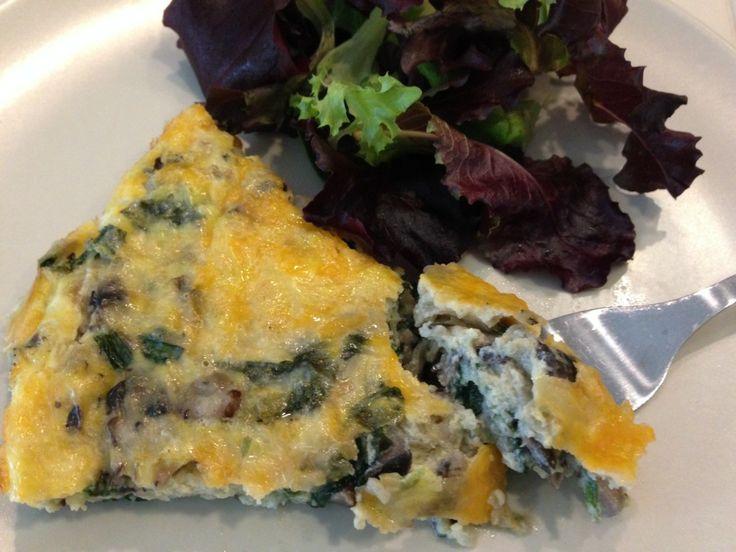 Crustless Spinach and Mushroom Quiche | yummyyyy food | Pinterest