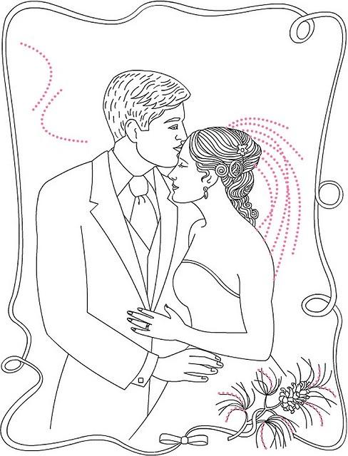Раскраска свадебная открытка