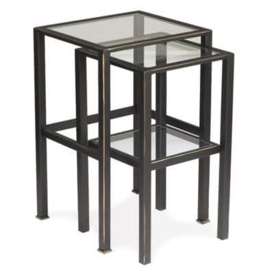 Vintage glass top nesting tables glass furniture for Glass top nesting tables