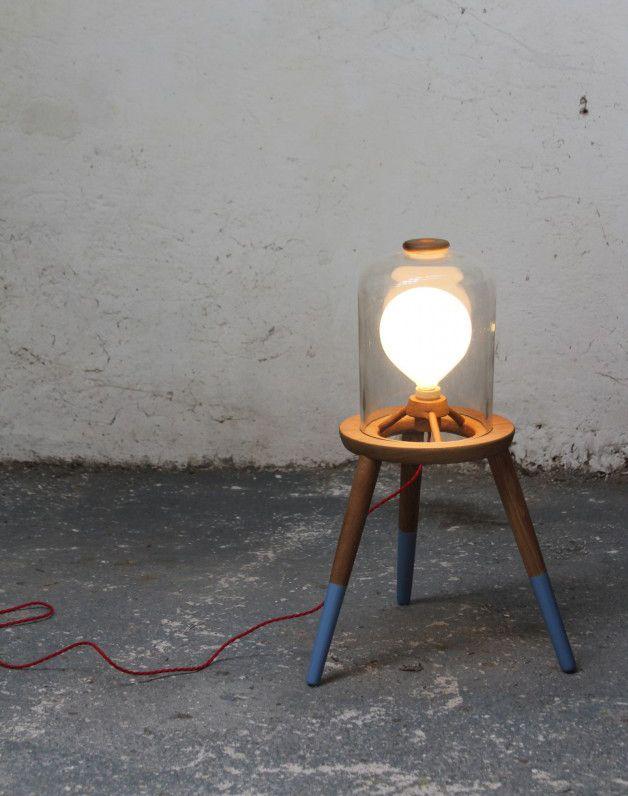 Felix McCormack3/3 Stool Lamp 2011  Turned Oak . Found Pyrex . Chemical Jar . Red Braided Flex . Heavy duty exterior Paint . E27 Globe Bulb