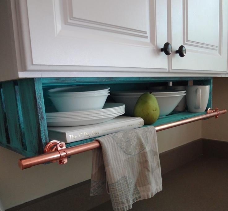 Kitchen shelf custom under cabinet with towel rack storage for Under cabinet storage racks