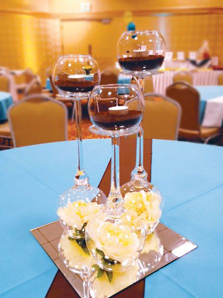 Blue yellow and brown centerpieces party theme ideas