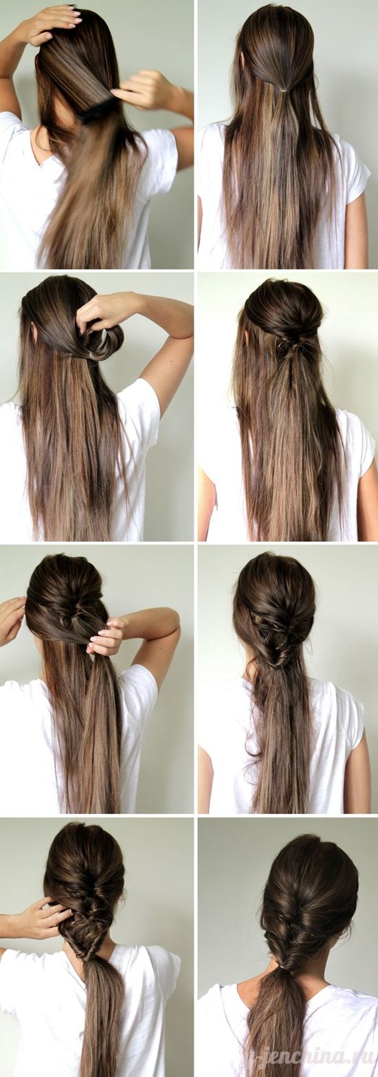 Причёски на каждый день своими руками на длинные волосы без челки 27