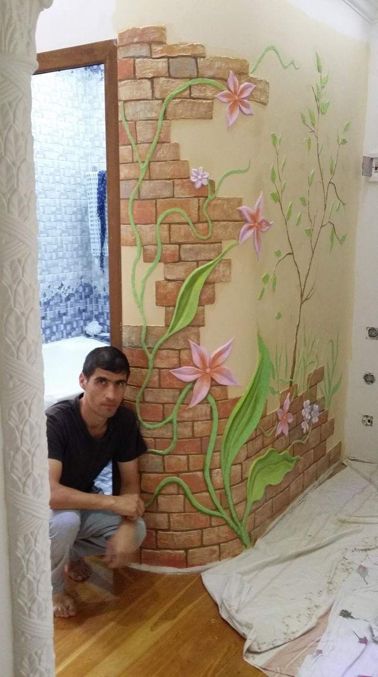 Трафаретная роспись стен своими руками фото