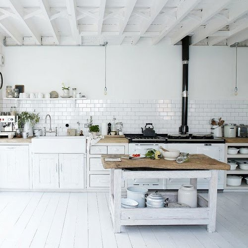 Rustic white kitchen kitchens pinterest for Rustic white cabinets