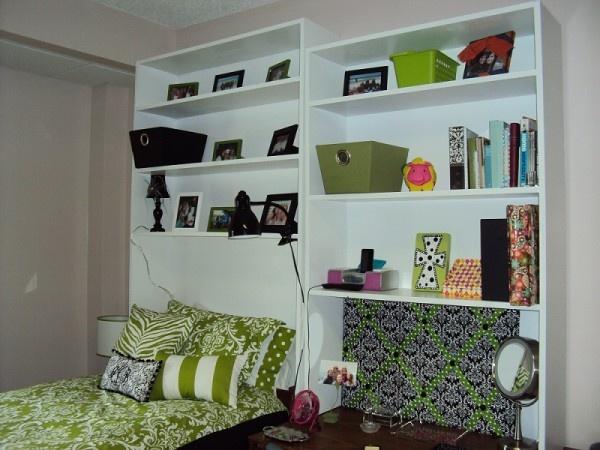 Bookcase Over Dorm Bed Ikea Dorm Ideas Pinterest