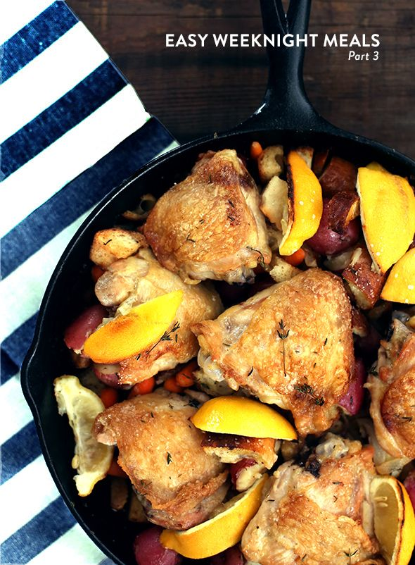 ... : Lemon Scented Skillet Chicken, Baked Potatoes and Sausage Lentils
