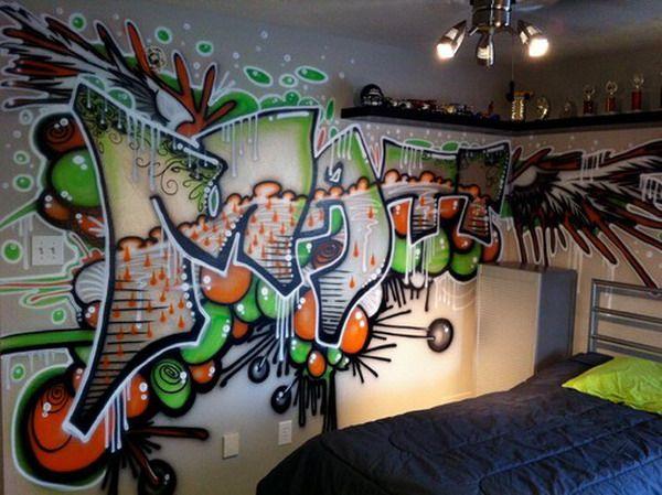 Hip hop brush graffiti bedroom murals kid s room pinterest for Graffiti bedroom designs