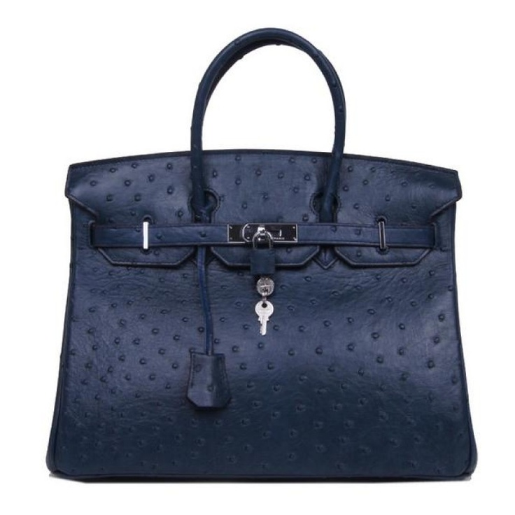 Hermes Royal Blue Ostrich Birkin Bag