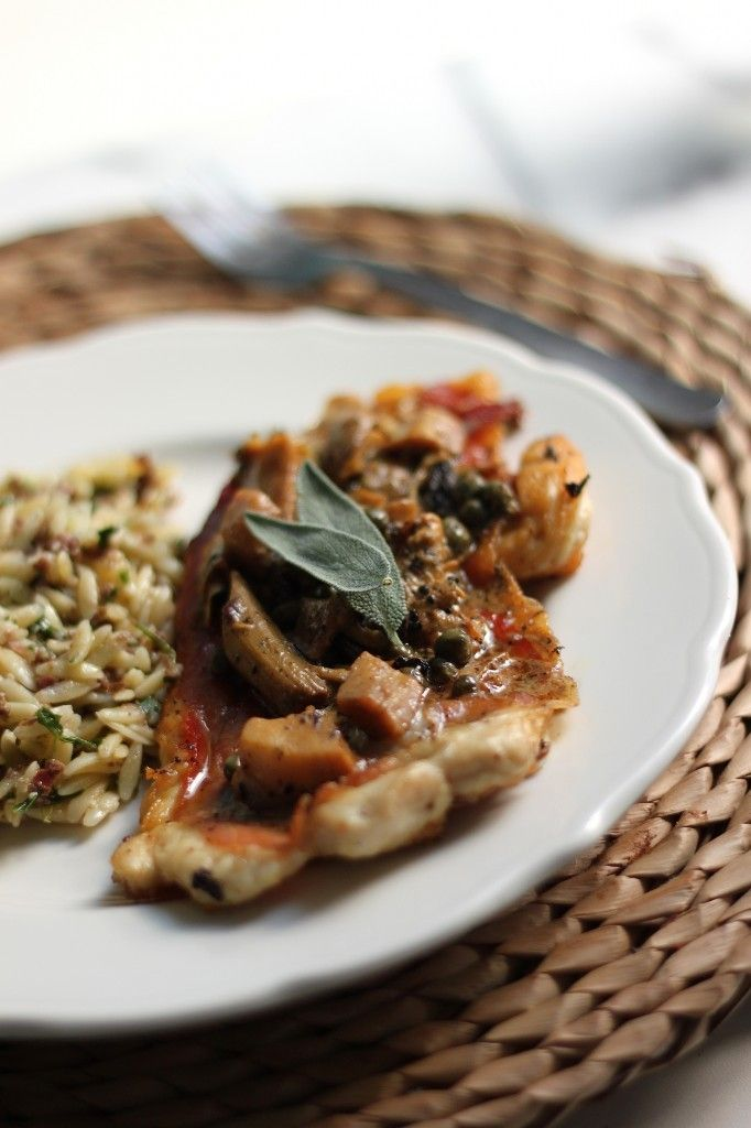 Chicken Saltimbocca with Creamy Lemon Sauce & Olive Orzo by Baker by ...