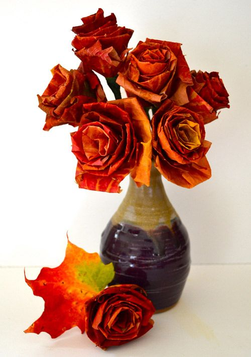Fall Roses made from fallen leaves