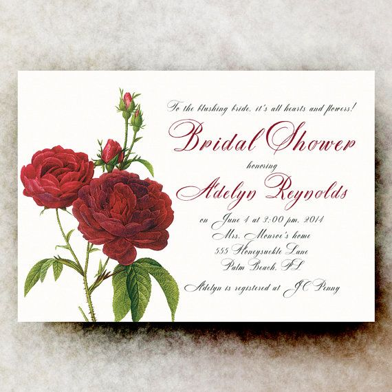 Red Roses Bridal Shower Invitation, white red bridal shower, floral ...