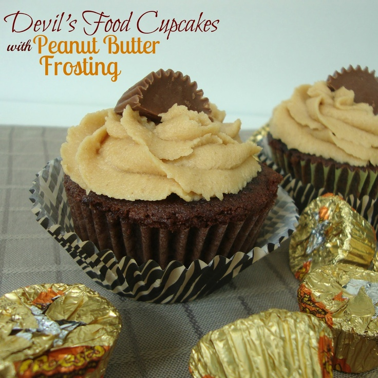 Chocolate, Chocolate and more...: Devil's Food Cupcakes with peanut Butter Frosting