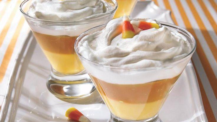 Creamy Candy Corn Puddings - banana and butterscotch puddings