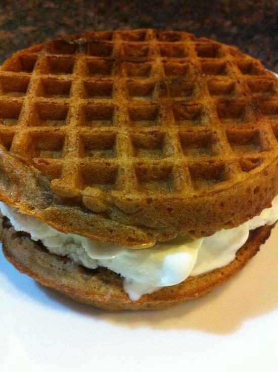 whole grain frozen waffles. Top one waffle w/ 2 teaspoons peanut ...
