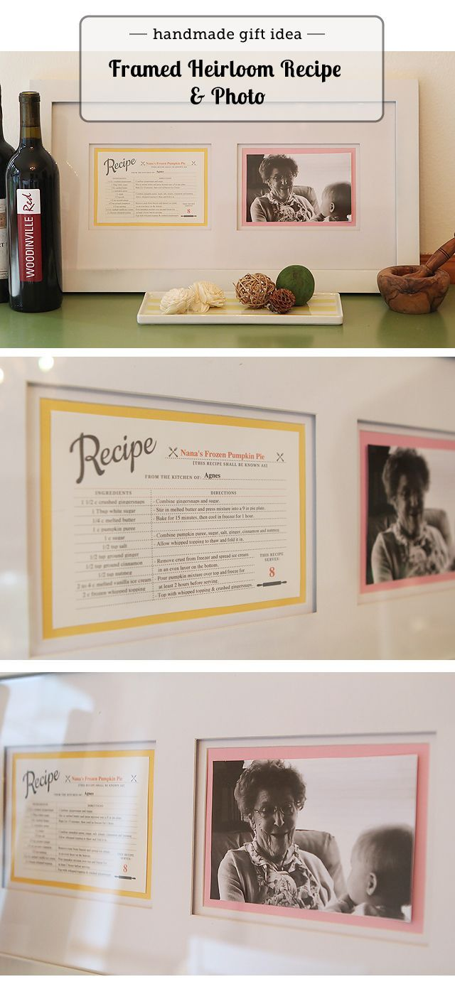 Awesome DIY Christmas gift:  framed photo of grandma with her trademark recipe - post has link for editable recipe card.