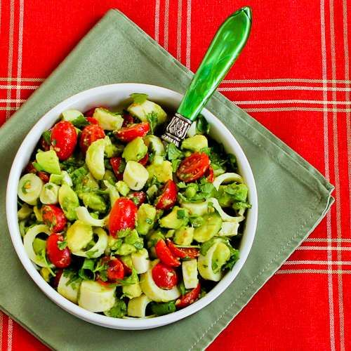 Recipe for Heart of Palm Salad with Tomato, Avocado, and Lime (with or without Cilantro)