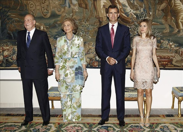 Spain Royal Family attend a dinner with local authority representatives at the Almudaina Palace in Palma de Mallorca