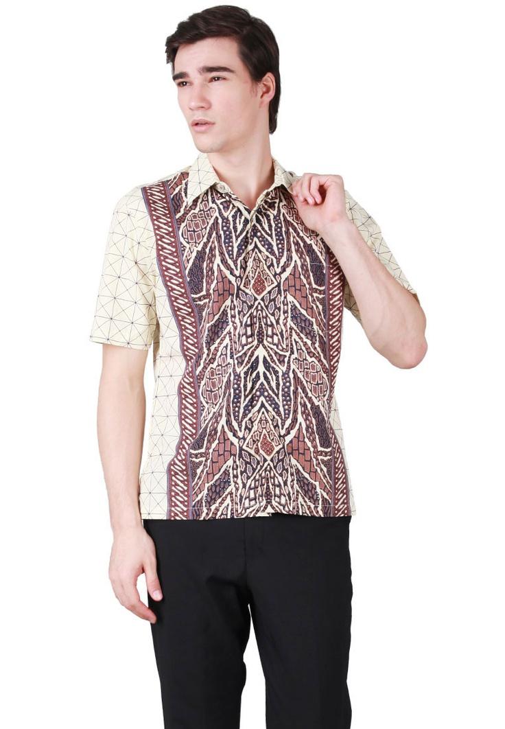 BATIK SEMAR Kemeja Batik Ivory Navy Biru | Pengiriman Gratis | ZALORA ...