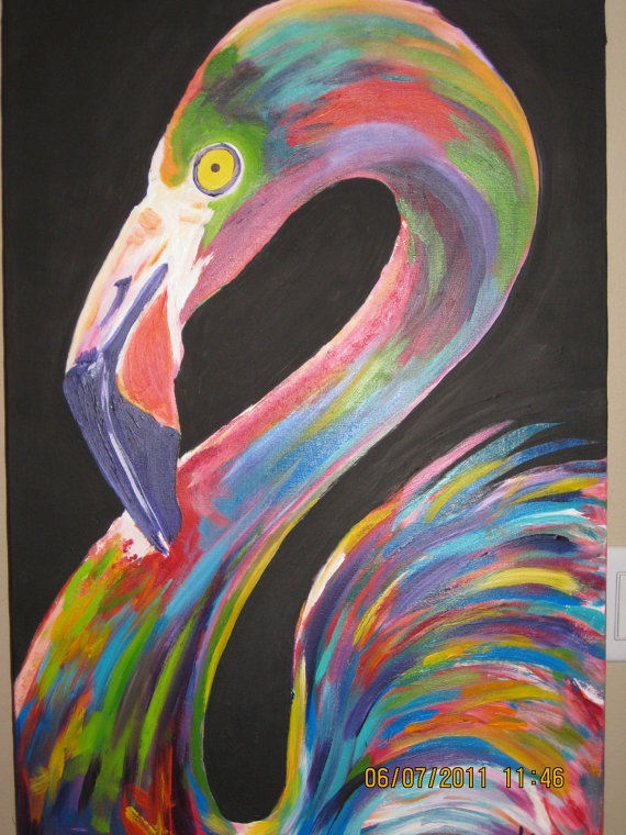 Original Flamingo Painting by brittanels on Etsy, $125.00