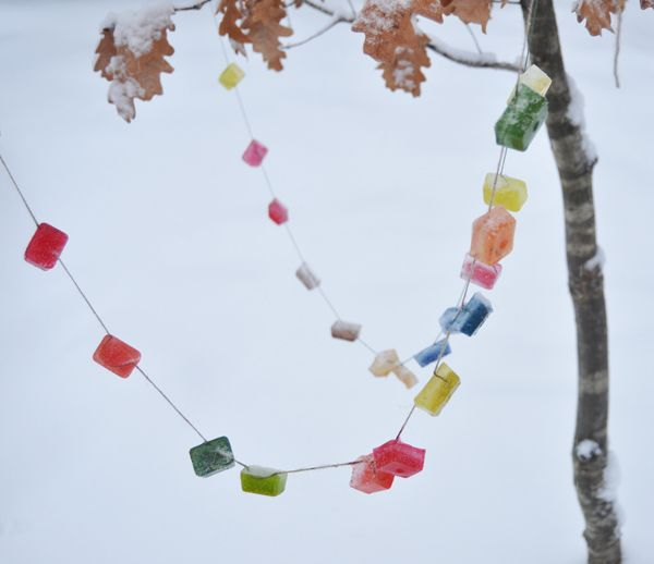 coloured ice garland