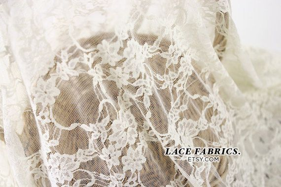Ivory Lace Fabric By The Yard Wedding Bridal Lace Curtain Tulle Sheer