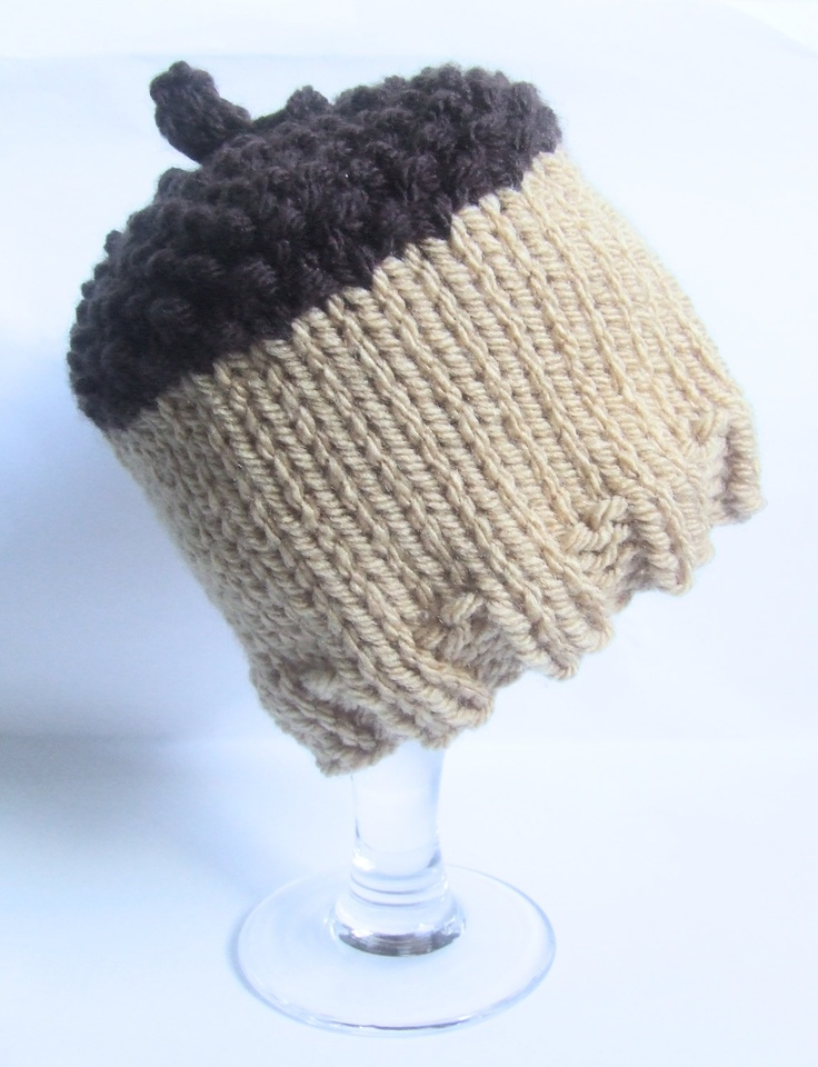 Knitting Pattern For Acorn Hat : Knitted baby boy hat - acorn hat - newborn - photo prop ...