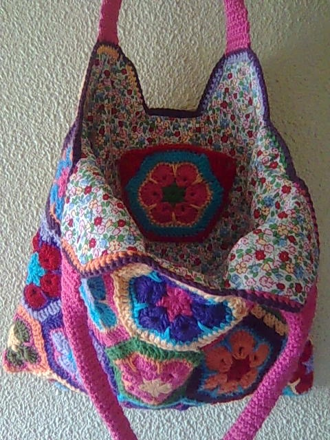 Crochet hexagon bag inside Crochet bags Pinterest