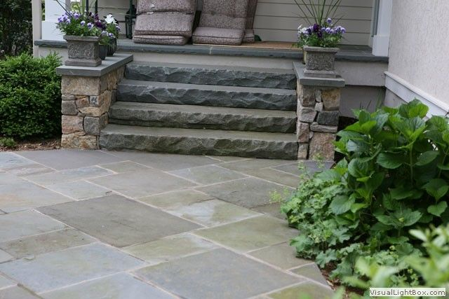 of patio floors fireplace stone slab steps from upper patio