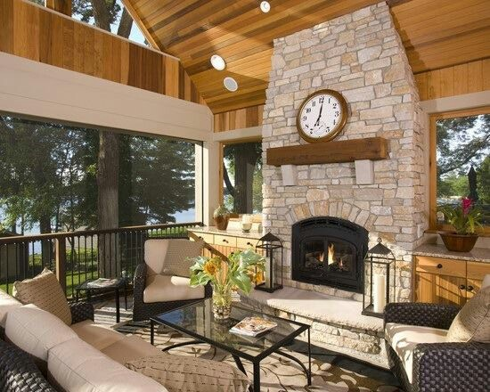 screened in porch w fireplace exterior ideas