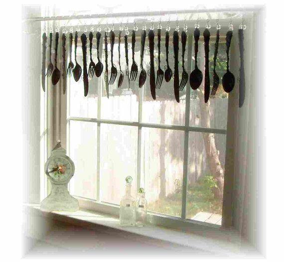 Classy Black Flatware  Window Treatment  by LittleLaLaOriginals