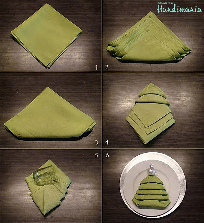 Table Napkin Folding : How to fold napkin for christmas table  Winter Decor  Pinterest
